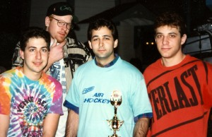 Andy and the innocent East Coast Crew, before Andy lost his shirt contract with Everlast. Product placement wasn't so subtle back then, I see.