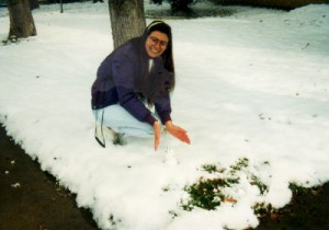 Kara constructs the tiniest snowman in the universe.